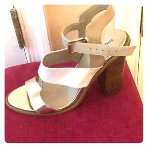 Shoemint gold white strap heels